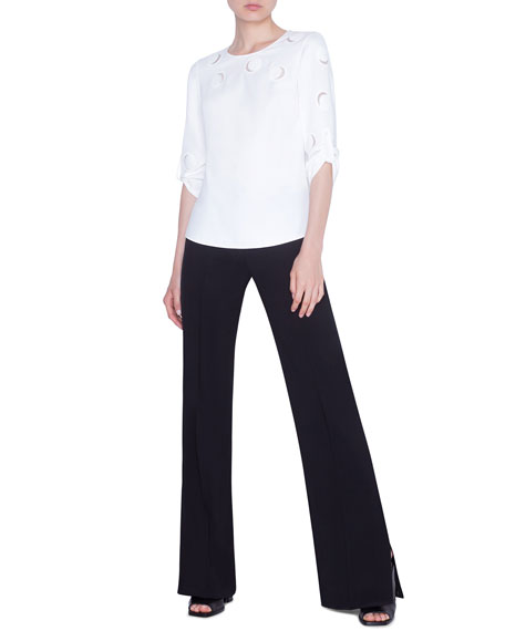 Akris punto Tulle-Trimmed Laser-cut Sweater