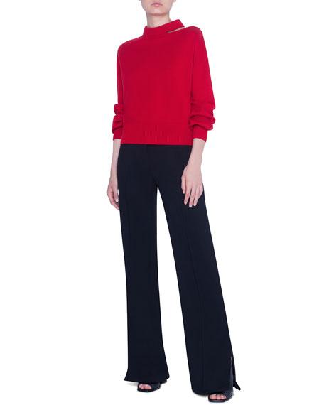 Akris punto Wool-Cashmere Slit-Neck Full-Sleeve Sweater