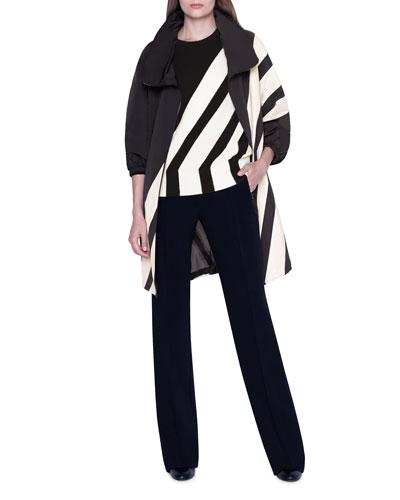 Diagonal-Striped Silk Knee-Length Parka Jacket and Matching Items