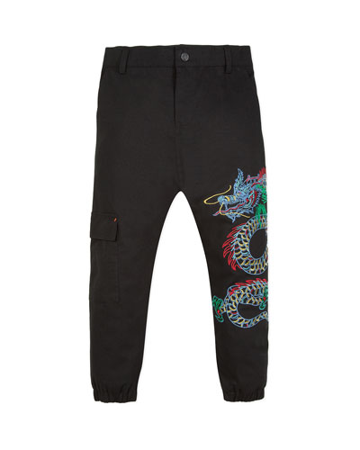 Japanese Dragon Embroidered Cargo Pants  Size 2-12  and Matching Items