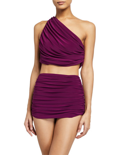 Diana Shirred One-Shoulder Bikini Swim Top and Matching Items