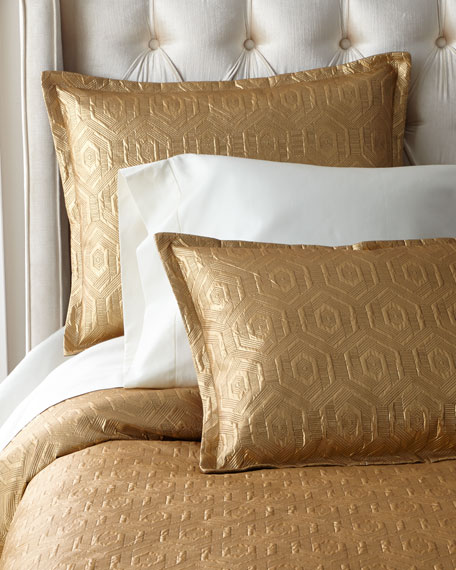 Dian Austin Couture Home Metallic Geometric Quilted King Coverlet