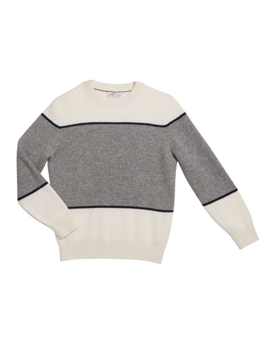 Boy's Cashmere Colorblock Crewneck Rib Sweater  Size 4-6 and Matching Items