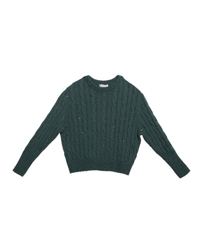 Girl's Cashmere Cable Knit Sweater w/ Pailettes, Size 4-6 and Matching Items