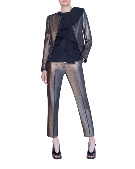 Akris punto Iridescent Golden Zip-Front Jacket