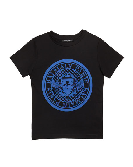 Balmain Kid's Short-Sleeve Coin Logo Tee, Size 4-10