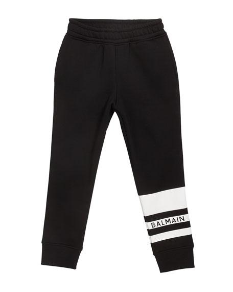 Balmain Kid's Logo Stripe Sweatpants, Size 4-10