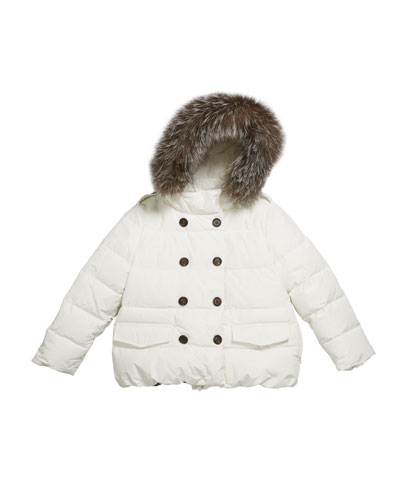 Girl's Quilted Coat w/ Fur Trim Hood  Size 8-10  and Matching Items