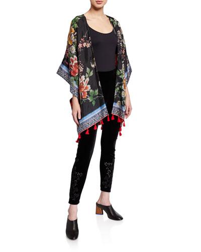 Leila Reversible Tassel Edge Silk Kimono and Matching Items