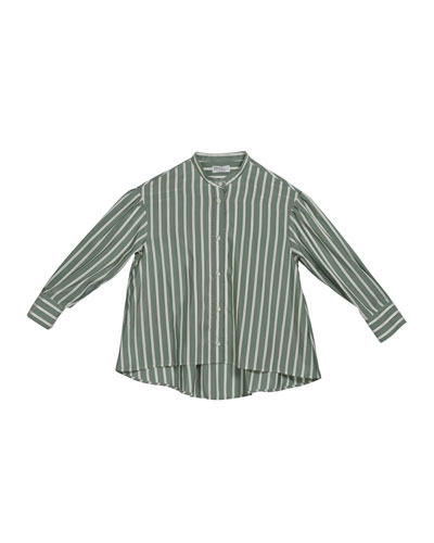 Girl's Striped Button-Down Silk Blouse w/ Monili Placket, Size 4-6 and Matching Items