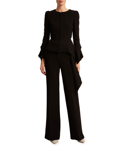 Noto Double-Crepe Draped Peplum Jacket and Matching Items
