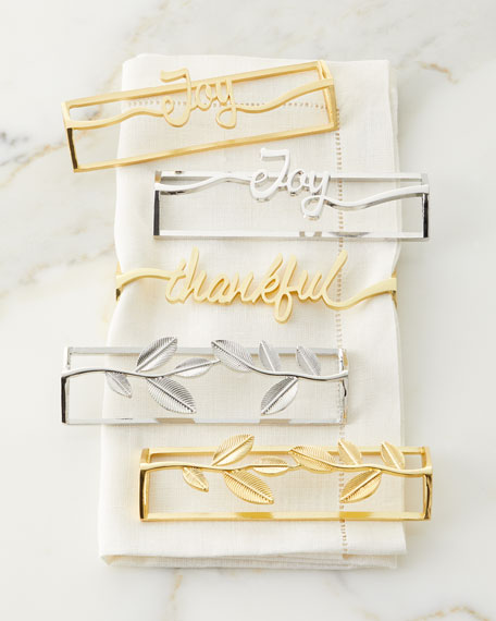 Tin Parade Leaf Gold Napkin Rings, Set of 4