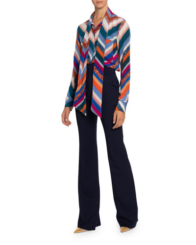 Newberry Chevron-Striped Chiffon Tie-Neck Blouse and Matching Items
