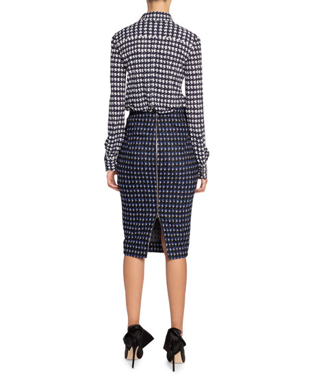 Victoria Beckham Houndstooth-Print Jersey Button-Front Top