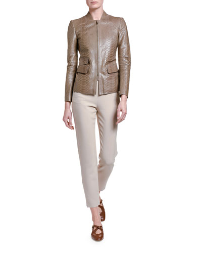 Python Leather Zip-Front Jacket and Matching Items