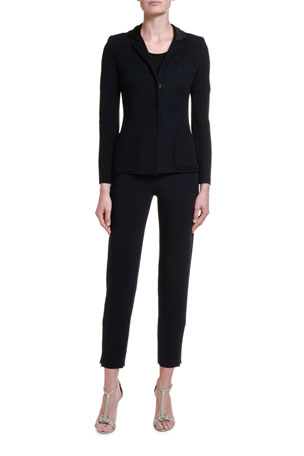 Giorgio Armani Textured Stretch-Wool Blazer Jacket 1/2-Sleeve Wavy Knit Tee, Black Textured Stretch-Wool Slim-Leg Pants