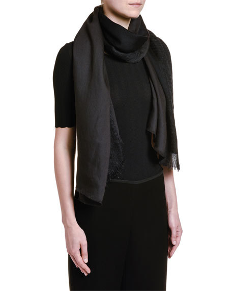 Giorgio Armani 1/2-Sleeve Wavy Knit Tee, Black