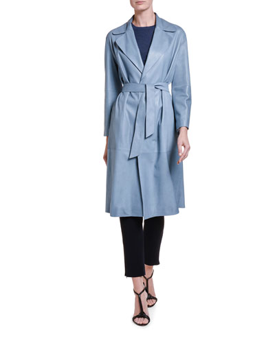 Goat Leather Belted Trench Coat and Matching Items