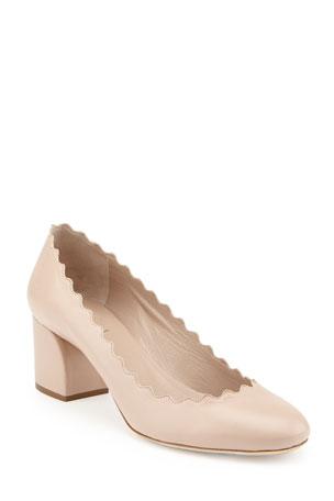 Chloe Scalloped Leather Pumps Lauren Scalloped Suede Block-Heel Pumps Lauren Scalloped Leather Ballet Flats