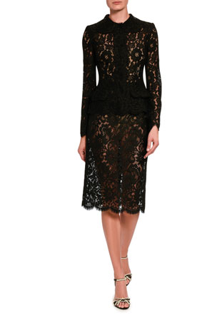 Dolce & Gabbana Lace Button-Front Top Lace Pencil Skirt