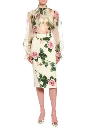 Dolce & Gabbana Floral Chiffon Blouse Floral-Print Crepe Midi Skirt