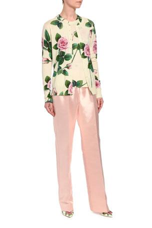 Dolce & Gabbana Floral Knit Cashmere/Silk Button-Front Cardigan Floral Knit Cashmere/Silk Sweater
