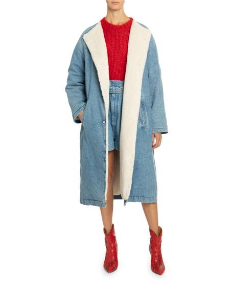 Isabel Marant Sherpa-Lined Denim Coat