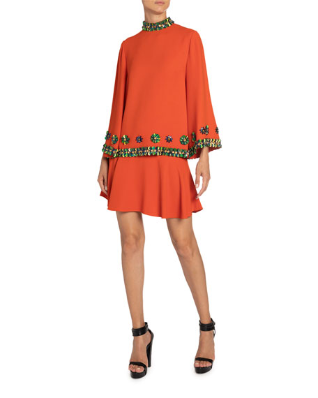 Andrew Gn Sequin-Trim Bell-Sleeve Top