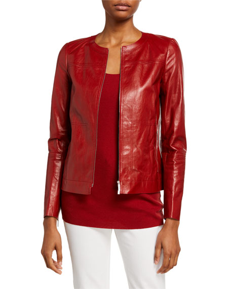 Lafayette 148 New York Juno Glazed Weightless Lambskin Leather Jacket