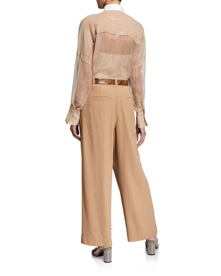 Brunello Cucinelli Sequined Crispy Silk Two-Piece Blouse