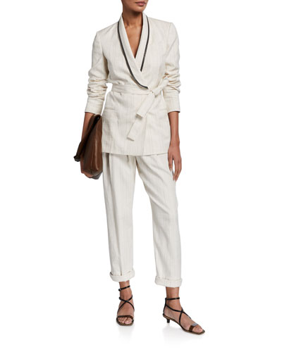 Pinstriped Shawl Collar Jacket and Matching Items