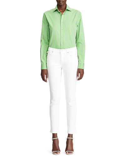 Rowland Pinstriped Cotton Boyfriend Shirt  Lime and Matching Items