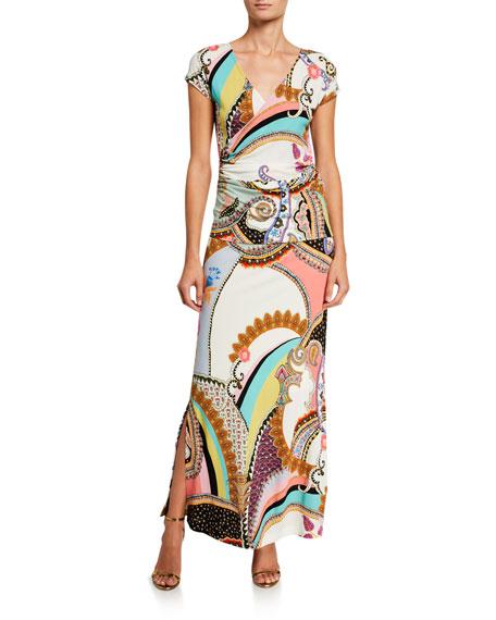 Etro Radial-Print Jersey Wrap Top