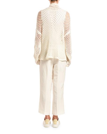 Agnona Cashmere Mesh Cowl-Neck Sweater