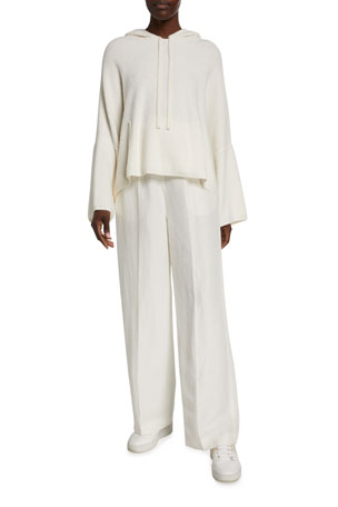 Agnona Cashmere-Cotton Terry Hooded Sweater Linen-Silk Wide-Leg Pants