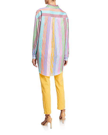 Etro Crest-Embroidered Striped Tunic Shirt