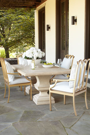 Alexandra Outdoor Double-Urn Pedestal Table Savannah Collection Dining Chair