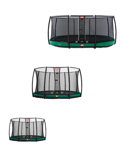 17' In-Ground Grand Champion Oval Trampoline with Safety Net  and Matching Items