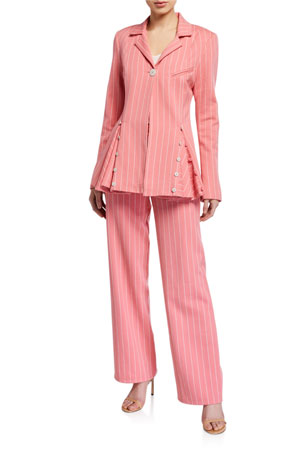 Maggie Marilyn Follow Your Heart Striped Blazer Powerful In Pink Pants