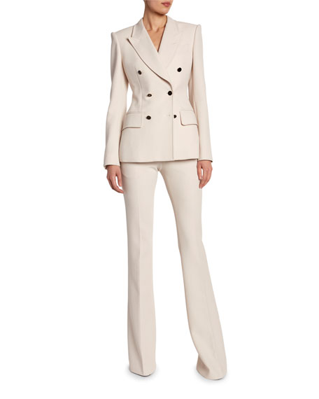 TOM FORD Strong-Shoulder Wool Fitted Blazer
