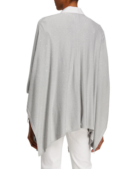 Lafayette 148 New York Connor Glistening Stripe Zip-Front Shirting Blouse