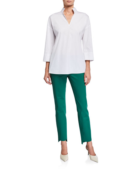 Lafayette 148 New York Hawkins Italian Stretch Cotton Blouse