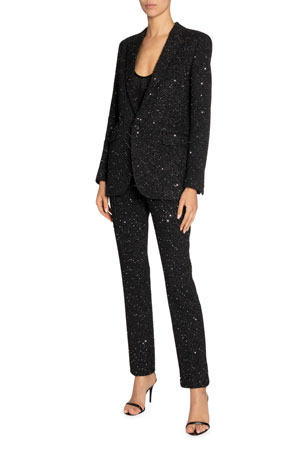 Saint Laurent Shimmered Crepe Blazer and Matching Items $0