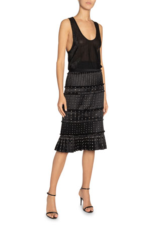 Saint Laurent Studded Silk Fringed Midi Skirt and Matching Items $0