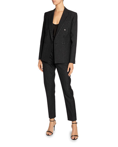 Metallic Pinstripe Double-Breasted Blazer and Matching Items