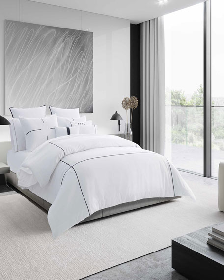 Vera Wang Zigzag White Queen Duvet Cover Set