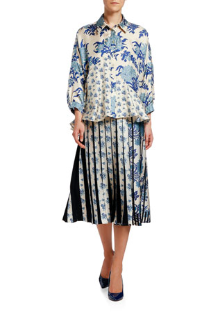 Antonio Marras Japanese Floral Patchwork Silk High-Low Shirt Floral-Print Patchwork Pleated Midi Skirt