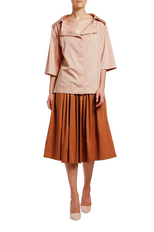 Antonio Marras 3/4-Sleeve Portrait Collar Sateen Shirt Shirred-Waist Skirt