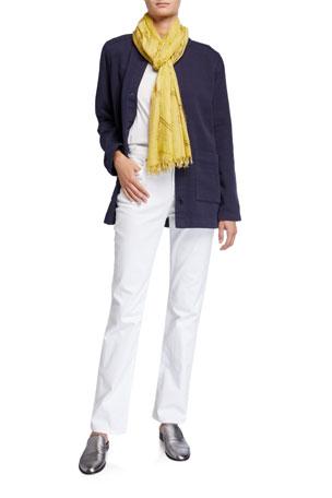 Eileen Fisher Organic Cotton Channel Jacket w/ Mandarin Collar U-Neck Short-Sleeve Organic Cotton Jersey Tee High-Rise Straight-Leg Denim Jeans