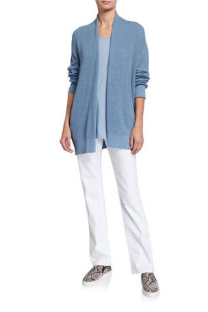 Eileen Fisher Peruvian Organic Cotton Kimono Cardigan Lyocell Jersey Tank High-Rise Straight-Leg Denim Jeans